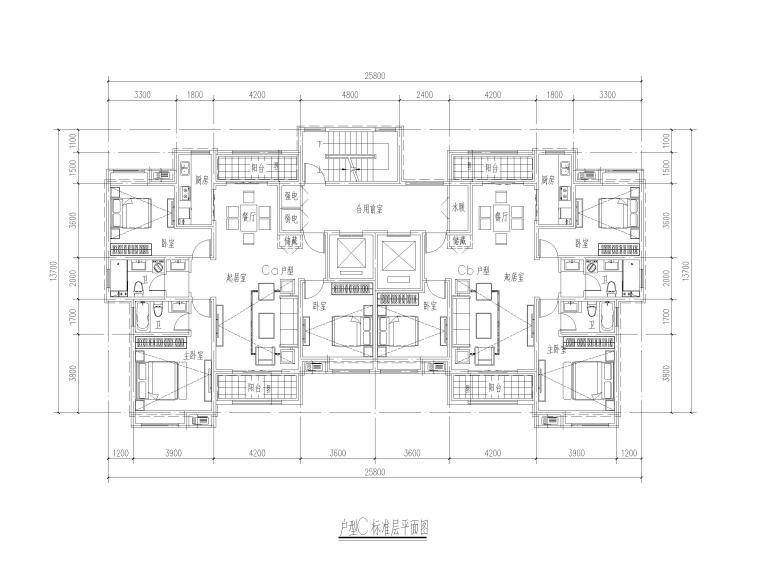 高层住宅三室户型图设计5