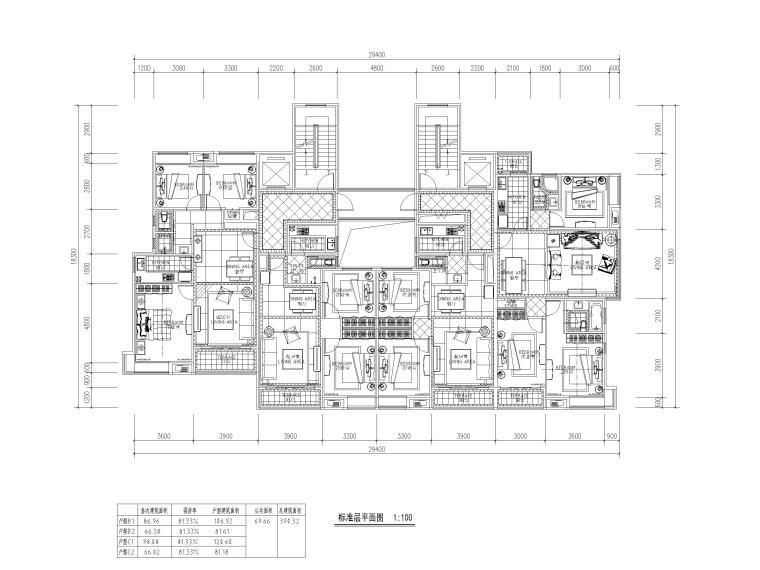 高层住宅三室户型图设计6