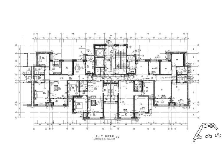 高层住宅三室户型图设计7