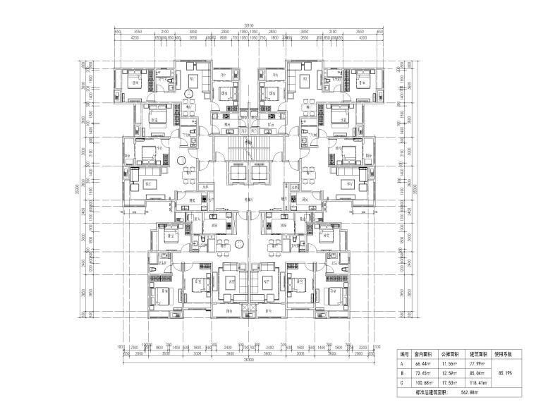 高层住宅三室户型图设计8