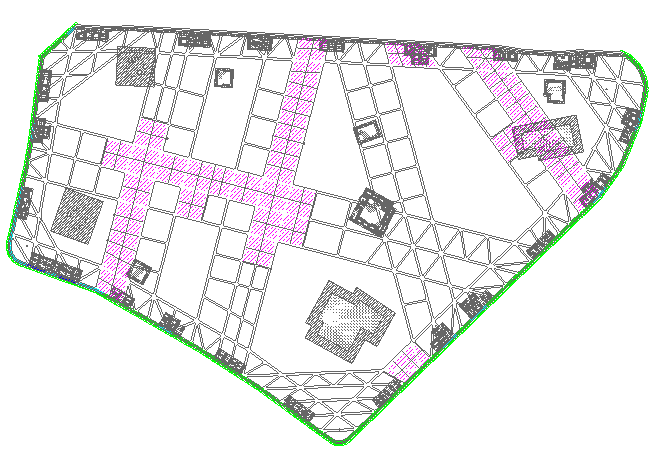 基坑围护及支撑结构平面示意图