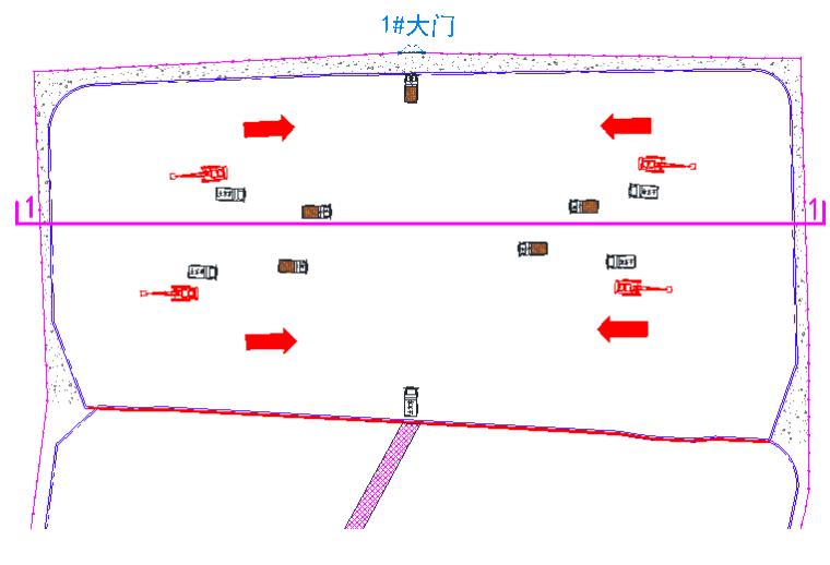首层大开挖交通流向图