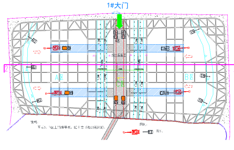 土方开挖阶段场内交通流向图