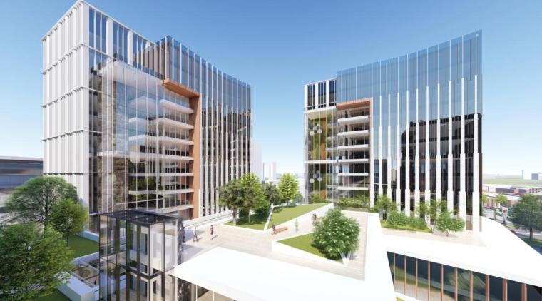 现代风生态办公+商业+酒店+公寓建筑设计