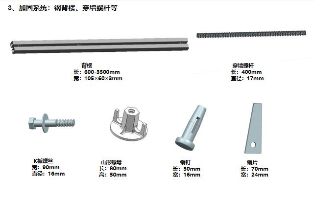 14加固系统:钢背楞、穿墙螺杆等