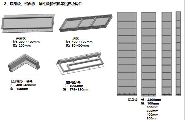 13墙身板、楼面板、梁柱板和楼梯等铝模板构件