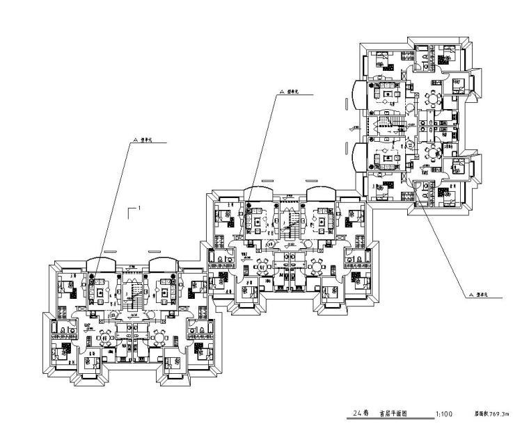 高层户型图-1梯2户点式户型设计 (2)