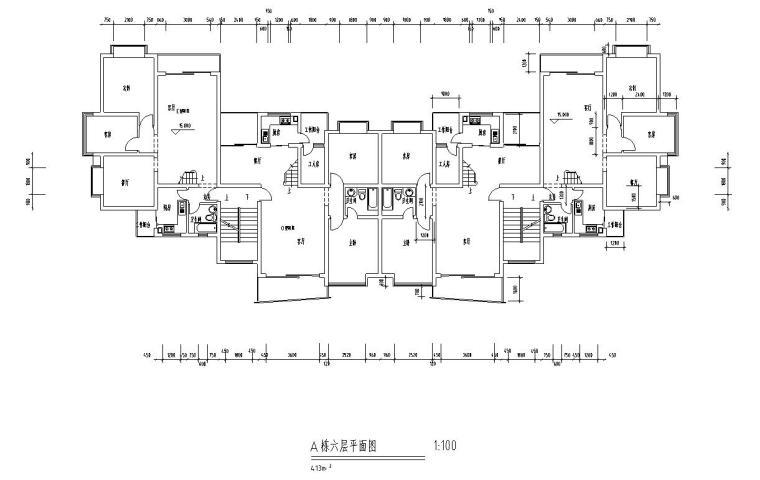 高层户型图-1梯2户点式户型设计 (4)