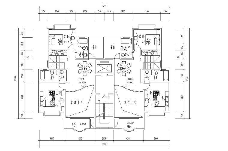 高层户型图-1梯2户点式户型设计 (6)