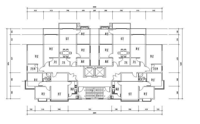 高层户型图-1梯2户点式户型设计 (9)