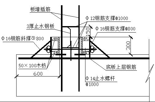 56地下室外墙在300mm处设临时施工缝,墙内安装300宽3mm止水钢板。