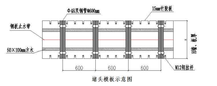 [浙江]地铁车站主体结构施工组织方案-堵头模板示意图