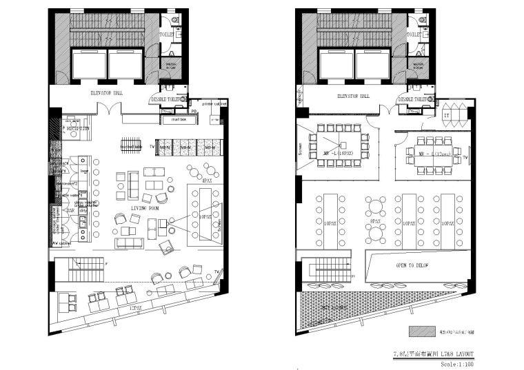 [上海]现代香港办公室施工图+SU模型+效果图-7,8层平面布置图