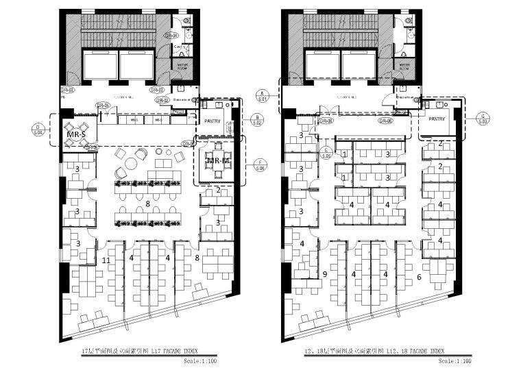 [上海]现代香港办公室施工图+SU模型+效果图-12,17,18层平面图及立面索引图