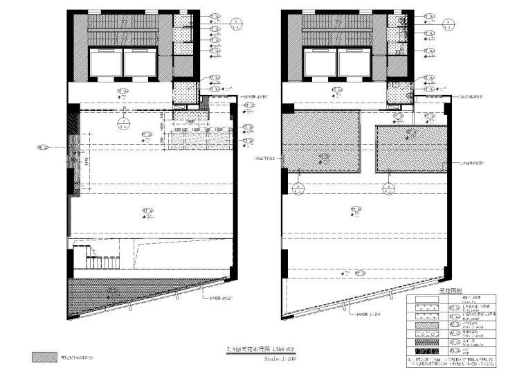 [上海]现代香港办公室施工图+SU模型+效果图-7,8层天花布置图