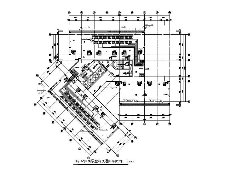 D1宿舍屋面层空调及通风平面图(一)