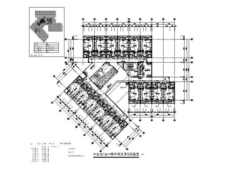 D1宿舍2至19层空调及通风平面图