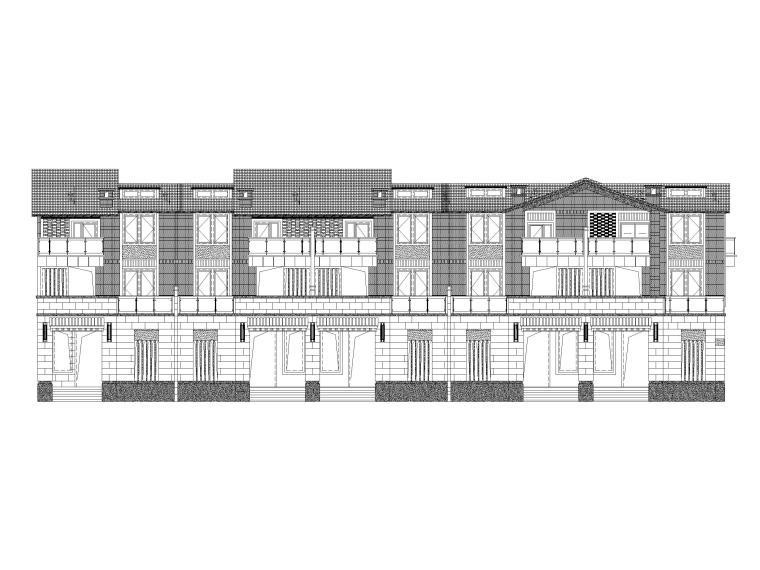 4套商墅平面立面方案CAD(TH)