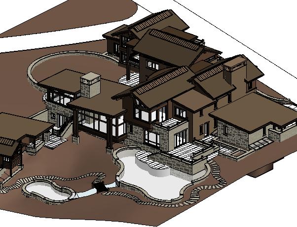 国外别墅群体建筑BIM模型(Revit2014)