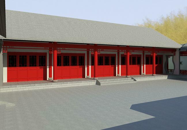 传统高档合院式建筑四合院Revit模型
