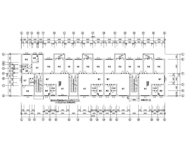 某五层单元式住宅混合结构施工图(CAD)
