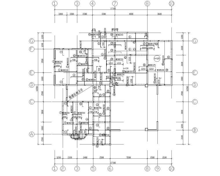某小区别墅异形柱混凝土结构施工图(CAD)