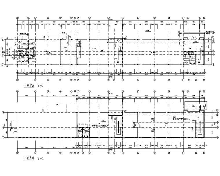 某2层工厂车间结构施工图(CAD含建筑)