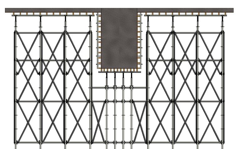 水雪综合体工程高大模板支撑体系施工方案-22 1300×2200梁支设示意图