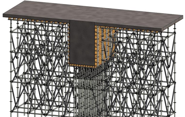 水雪综合体工程高大模板支撑体系施工方案-24梁支模架搭设示意图