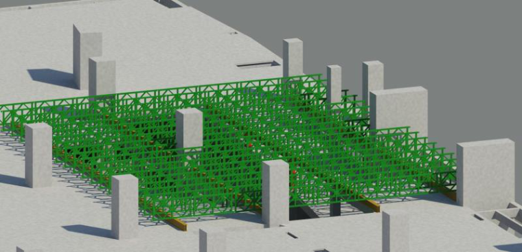 水雪综合体工程高大模板支撑体系施工方案-26贝雷架安装BIM模型示意图