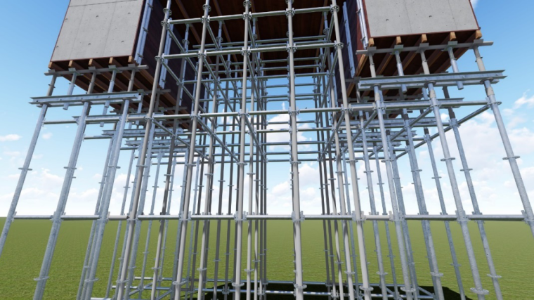 水雪综合体工程高大模板支撑体系施工方案-25滑道梁支撑示意图