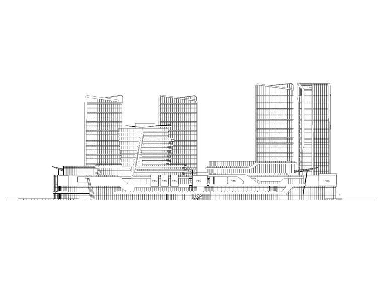 珠海高层商业广场综合体建筑扩初图(CAD)