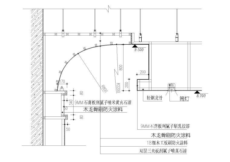 天花欧风板,夹板,石膏板等板材相接节点图