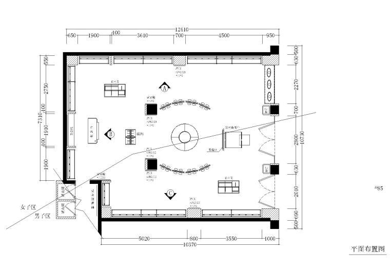 110平方正方形体育品牌专卖店施工图