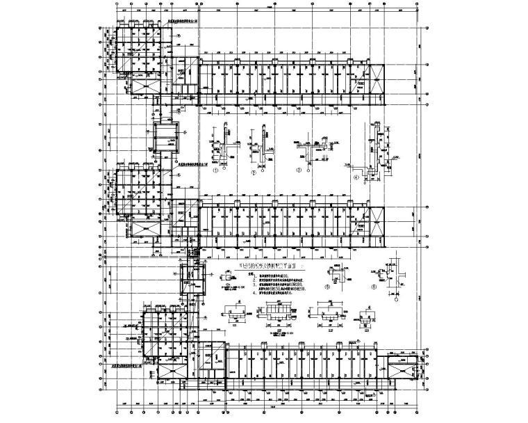 五层E型布置教学楼框架结构施工图(CAD)