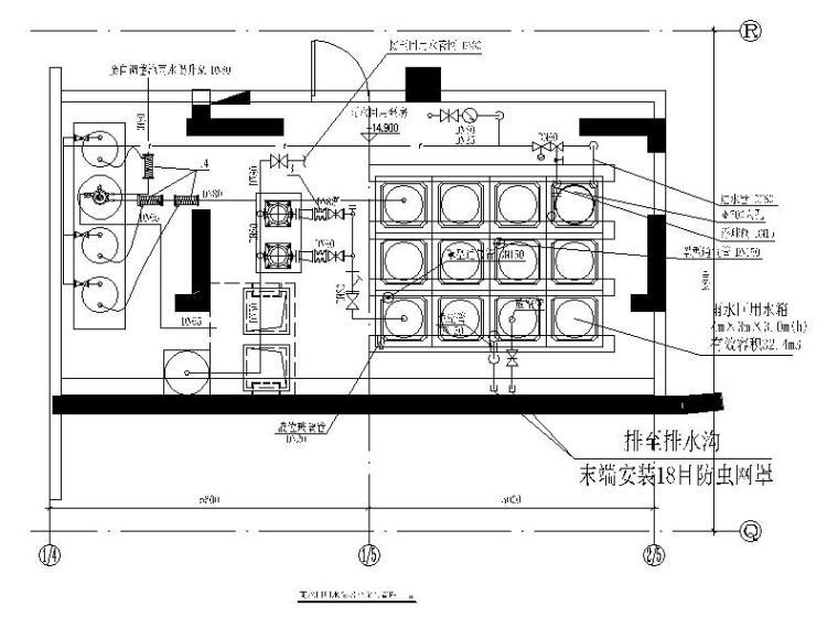 雨水回用水泵房大样图CAD