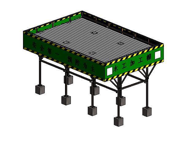 施工现场临时设施木工棚Revit模型(2014)