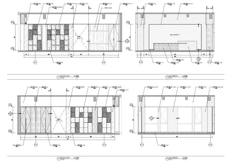 [上海]649㎡现代运营办公室施工图+效果图-负一层立面图