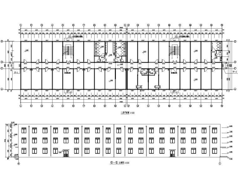 三层砖混结构宿舍楼施工图(CAD含建筑图)