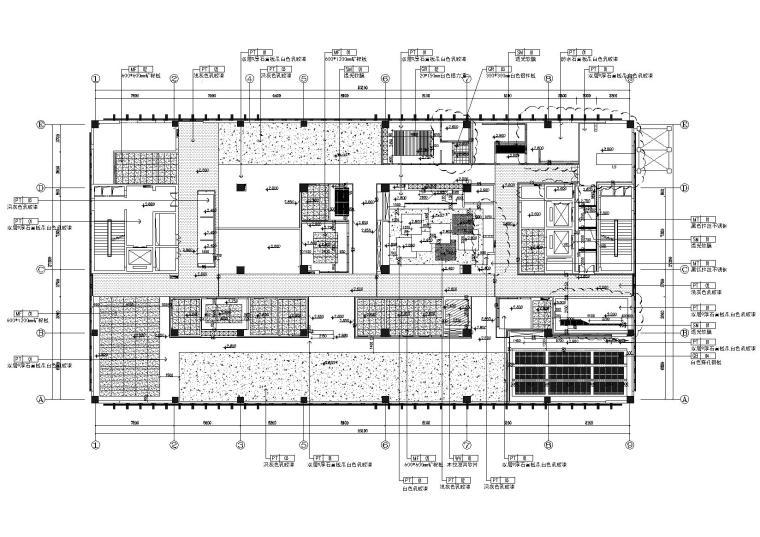 [武汉]新东方1350㎡办公空间施工图+SU模型-天花尺寸图