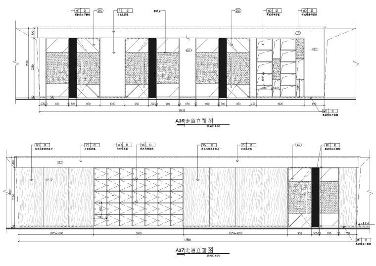 [武汉]新东方1350㎡办公空间施工图+SU模型-走道立面图