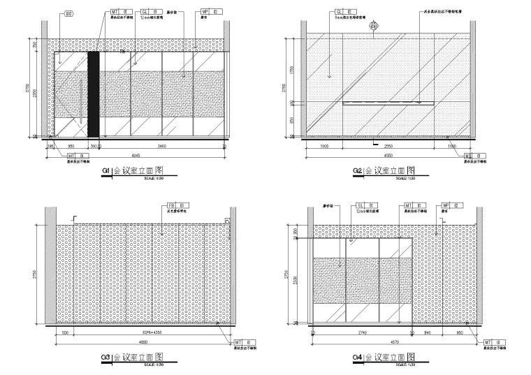 [武汉]新东方1350㎡办公空间施工图+SU模型-会议室立面图