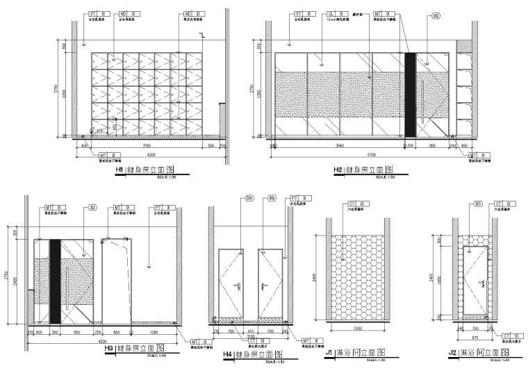 [武汉]新东方1350㎡办公空间施工图+SU模型-健身房淋浴间立面图