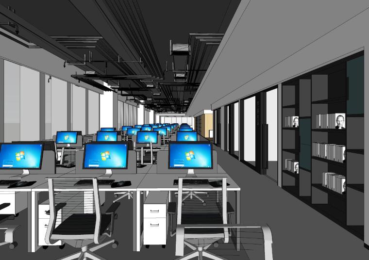 [武汉]新东方1350㎡办公空间施工图+SU模型-办公区
