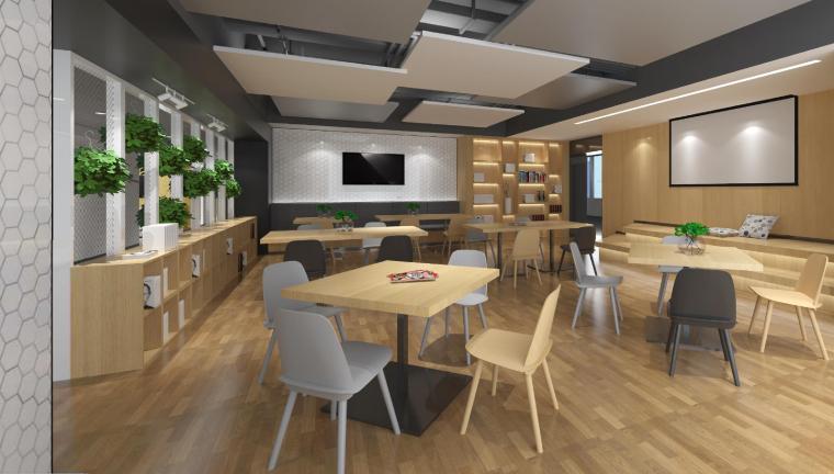 [武汉]新东方1350㎡办公空间施工图+SU模型-休闲区