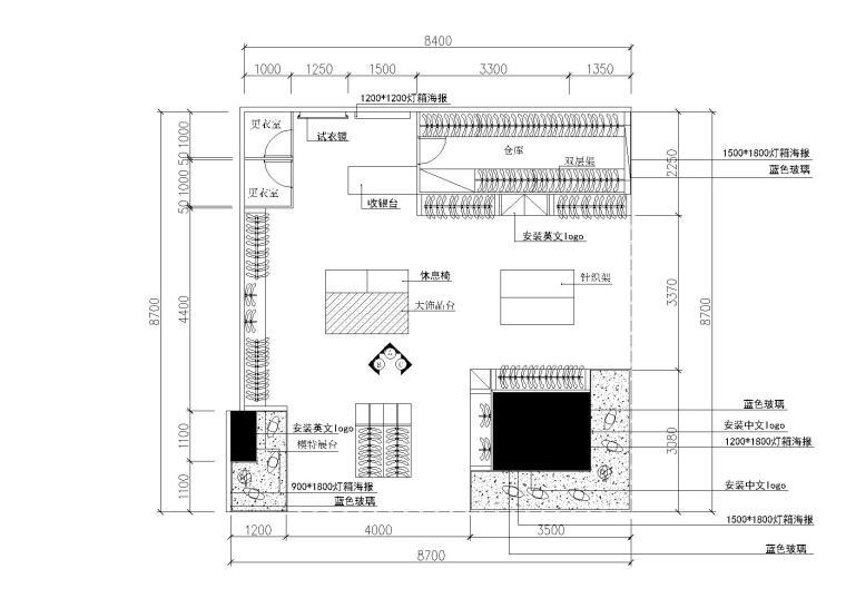 76平方服装专卖店设计施工图_附效果图