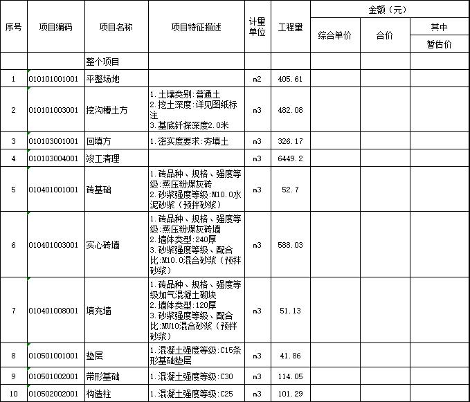 2017教师宿舍建设项目工程图纸及工程量清单
