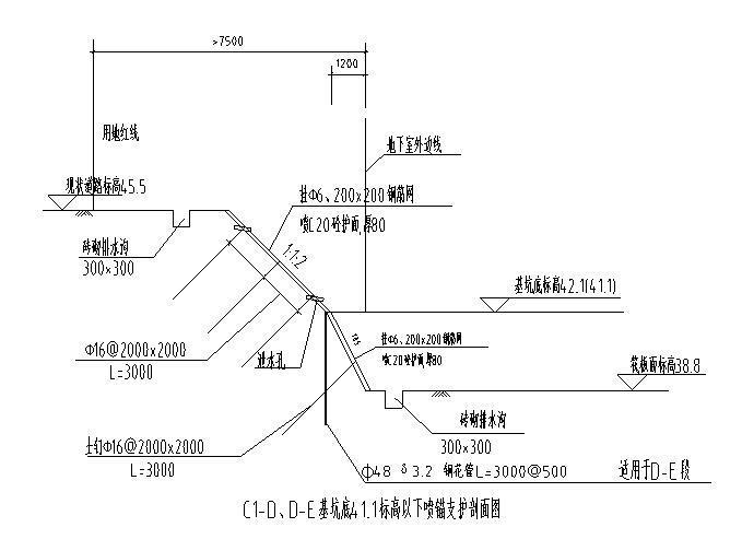 学校基坑支护工程放坡平面及监测CAD图