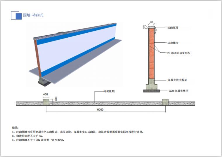 华东知名企业临建设施标准化(19年,194页)-围墙-砖砌式
