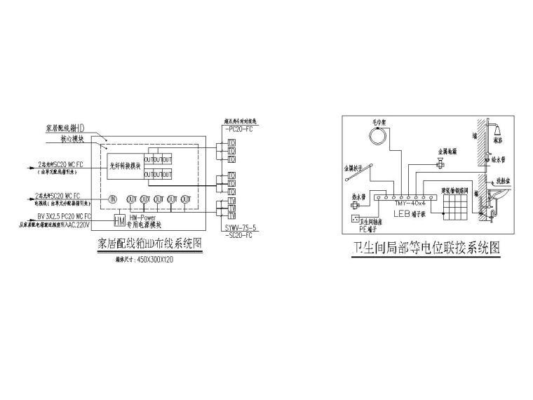 14家居配线箱HD布线系统图、卫生间局部等电位联接系统图
